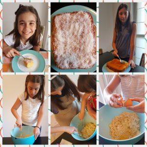 collage di foto che preparano la torta al cocco